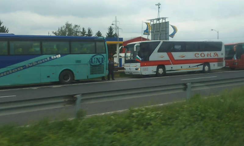 Видеоклип от протеста на автобусните превозвачи